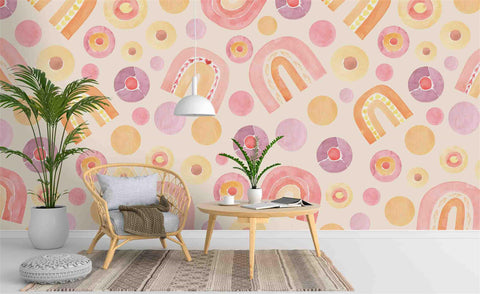 3D Cartoon Pink Pattern Wall Mural Wallpaper 50