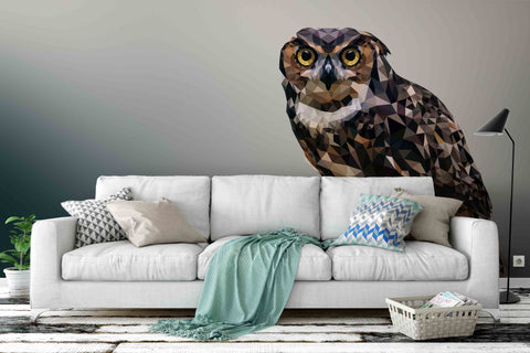 3D Owl Grey Wall Mural Wallpaper 78