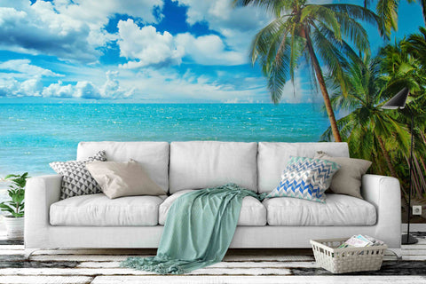 3D Blue Sea Sky Coconut Tree Wall Mural Wallpaper 09