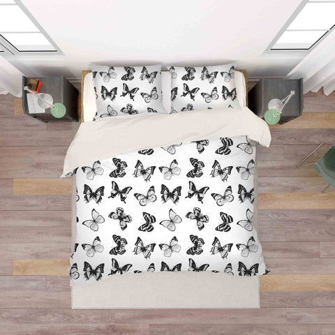 3D Black White Butterfly Quilt Cover Set Bedding Set Pillowcases 38