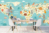 3D animals world map wall mural wallpaper 46