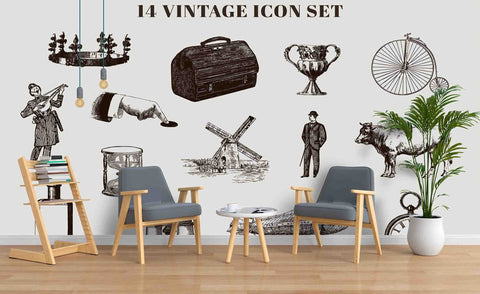 3D Vintage Icon Set Windmill Aircraft Compass Telescope Wall Mural Wallpaper SF75