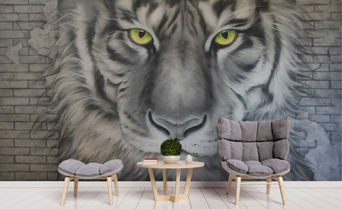 3D Brick Watercolor Tiger Wall Mural Wallpaper 186