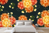 3D red flowers background wall mural wallpaper 44