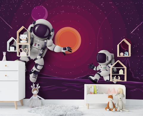 3D Purple Sky Astronaut Wall Mural Wallpaper 8