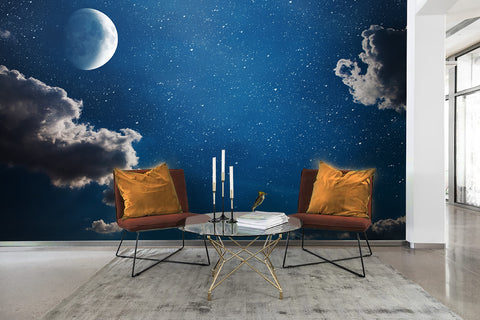 3D Star Sky Moon Clouds Wall Mural Wallpaper 27