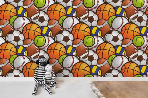 3D Cartoon Colorized Ball Green Orange Basketball Football Wall Mural Wallpaper ZY D94