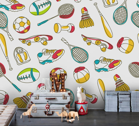 3D Cartoon Sports Equipment Wall Mural Wallpaper 66