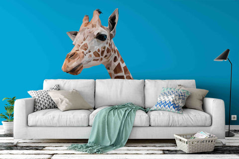 3D Giraffe Blue Wall Mural Wallpaper 57