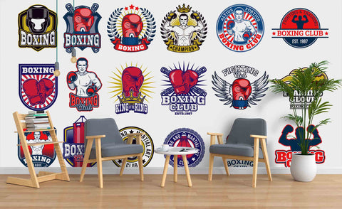 3D Boxing Club Logo Wall Mural Wallpaper 22