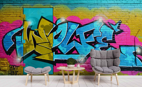 3D Brick Wall Graffiti Abstract Letter Wall Mural Wallpaper ZY D33