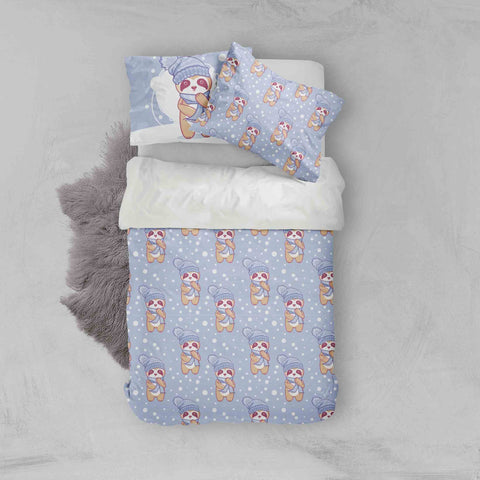 3D Blue Raccoon Animal Winter Snow Quilt Cover Set Bedding Set Pillowcases 77