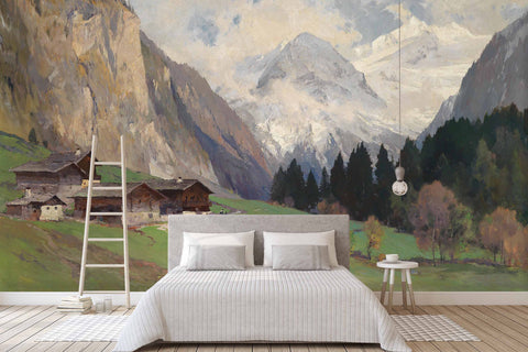 3D country snow mountain scenery oil painting wall mural wallpaper 37
