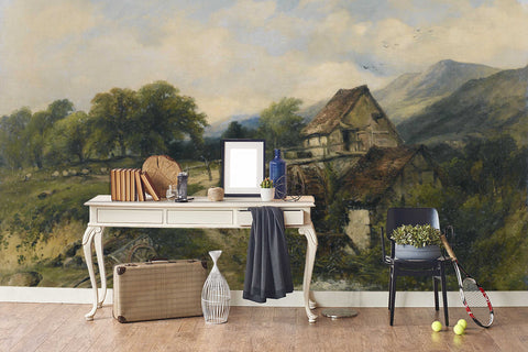 3D old houses oil painting wall mural wallpaper 8