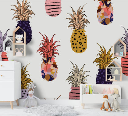 3D Cartoon Pineapple Wall Mural Wallpaper A206 LQH