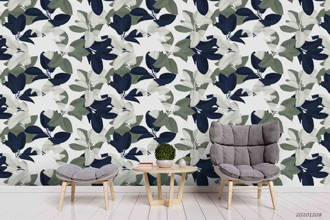 3D Hand Drawn Vintage Leaves Plant Pattern Wall Mural Wallpaper LXL