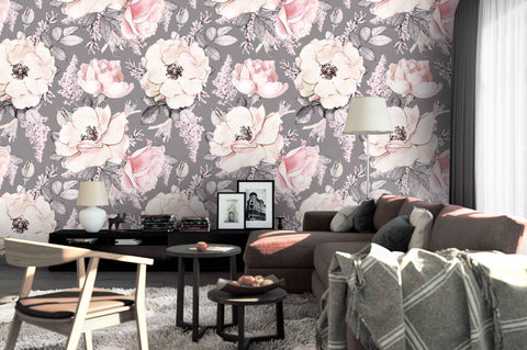 3D watercolor pink floral purple background wall mural wallpaper 126