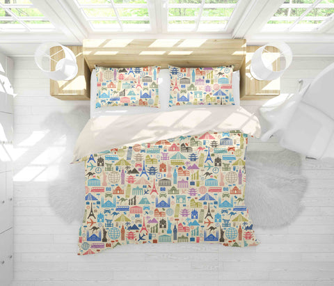 3D Landmark Building Quilt Cover Set Bedding Set Pillowcases 5