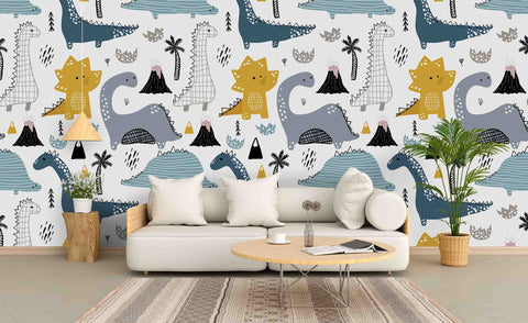 3D Cartoon Dinosaur Wall Mural Wallpaper 50