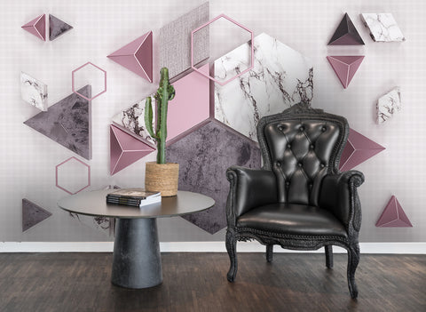 3D Geometry Triangle Marble Background Wall Mural Wallpaper 46