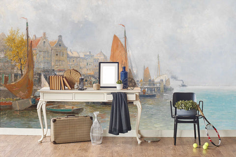3D oil painting seaside fishing village wall mural wallpaper 26