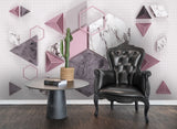 3D Marbling Geometric Triangle Hexagon Wall Mural Wallpaper 51