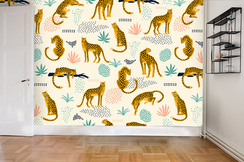 3D Leopard Plants Wall Mural Wallpaper 48