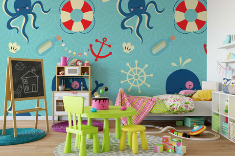 3D Octopus Lifebuoy Wall Mural Wallpaper 114