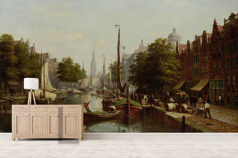 3D Nordic City Canal Oil Painting Wall Mural Wallpaper 17