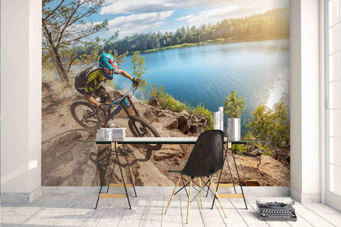 3D bicycle rider lake trees wall mural wallpaper 06