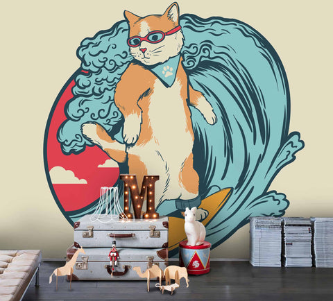 3D Cartoon Circle Cat Surffing Wave Blue Yellow Wall Mural Wallpaper ZY D25