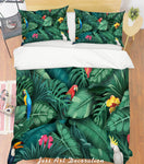 3D Green Leaf Parrot Quilt Cover Set Bedding Set Pillowcases 118
