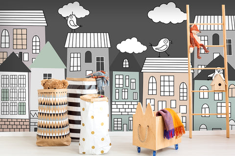 3D Cartoon City Building Wall Mural Wallpaper 45