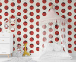 3D Cartoon Ladybug Insect Wall Mural Wallpaper LXL 1452