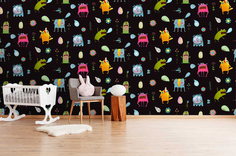 3D Cartoon Monster Animal Patterns Wall Mural Wallpaper SF87