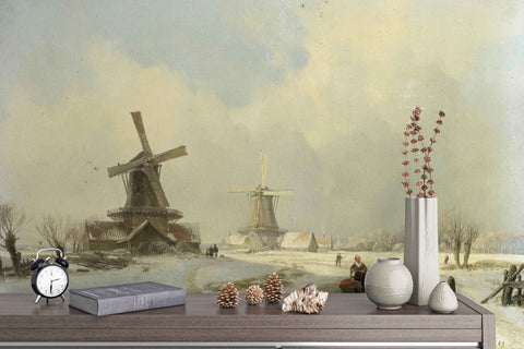 3D Nordic Winter Windmill Oil Painting Wall Mural Wallpaper 10