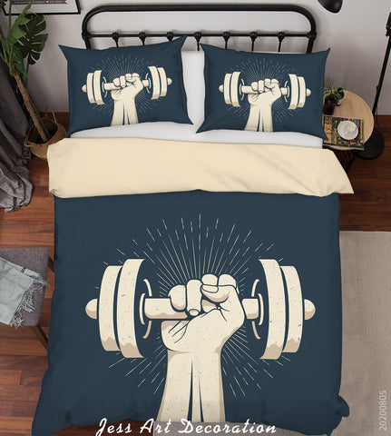 3D Strength Barbell Quilt Cover Set Bedding Set Duvet Cover Pillowcases LXL 72