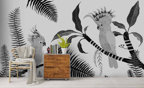 3D Hand Painting Parrot Leaves Wall Mural Wallpaper 94