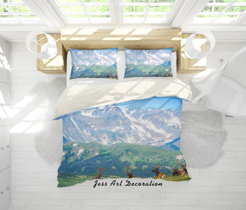 3D Mountain Grassland Elk Quilt Cover Set Bedding Set Pillowcases 15