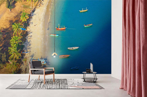 3D Blue Sea Boat Wall Mural Wallpaper  3