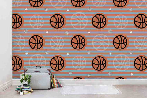 3D Cartoon Orange Basketball Geometry Stripes Wall Mural Wallpaper ZY D102
