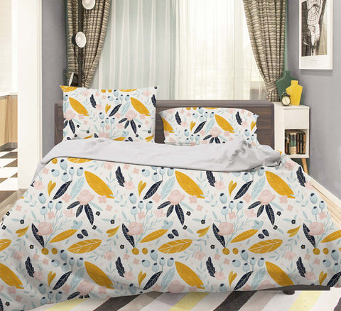 3D Yellow Leaves Quilt Cover Set Bedding Set Pillowcases 20