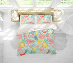 3D Green Dragon Fruit Watermelon Peach Quilt Cover Set Bedding Set Pillowcases 36