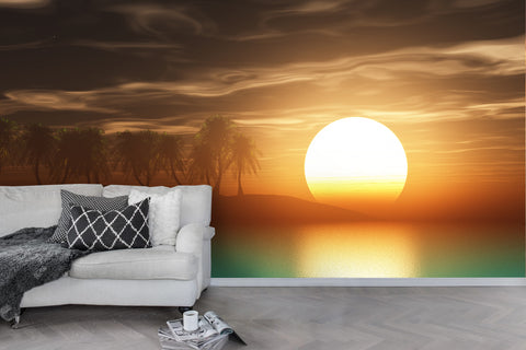 3D Sunset Forest Dusk Wall Mural Wallpaper 62