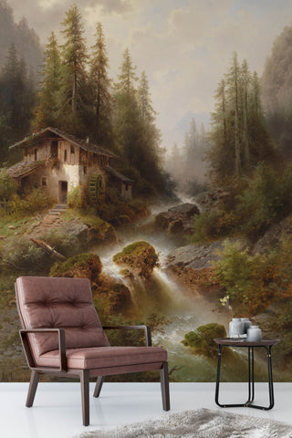 3D Deep Jungle Creek Log Cabin Oil Painting Wall Mural Wallpaper 95