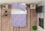 3D Floral Pattern Purple Quilt Cover Set Bedding Set Duvet Cover Pillowcases LXL 53