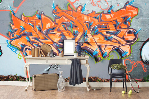 3D Grey Background Orange Abstract Sign Wall Mural Wallpaper 261