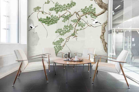 3D Vintage Chinese Style Crane Trees Wall Mural Wallpaper 28 - Jessartdecoration