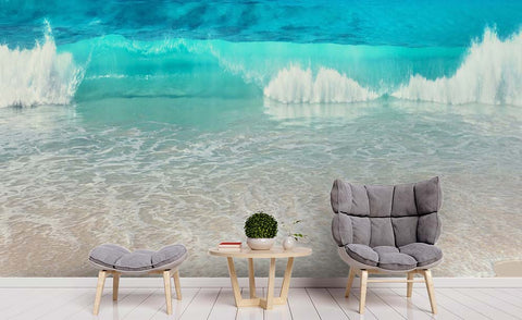 3D Blue Sea Beach Wall Mural Wallpaper 159