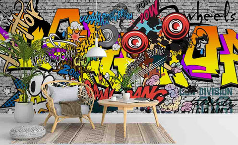 3D Brick Colorful Graffiti Wall Mural Wallpaper 228